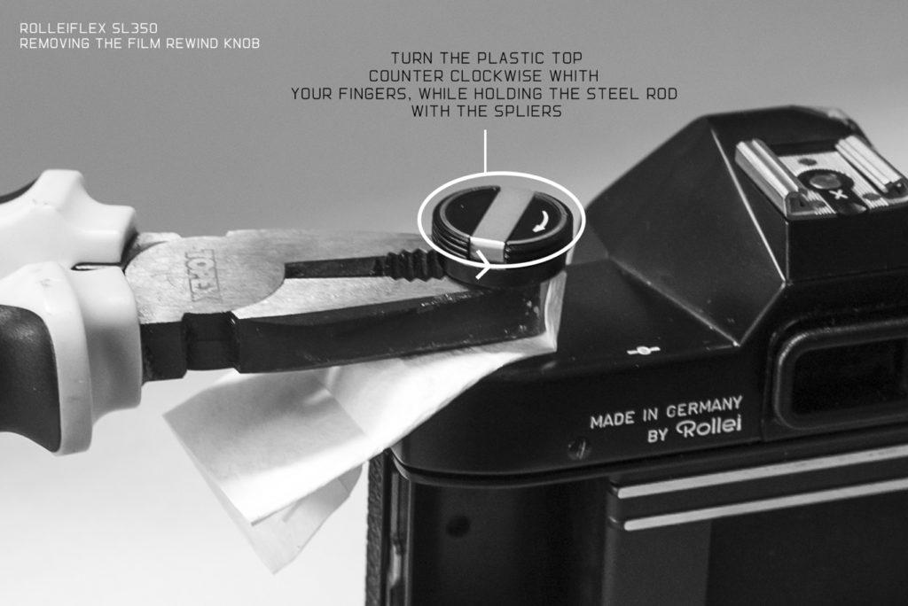 Removing the film rewind knob on a Rolleiflex SL350